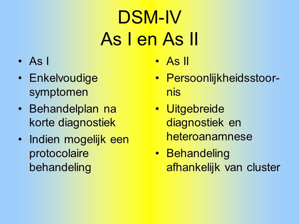 DSM-IV As I en As II As I Enkelvoudige symptomen