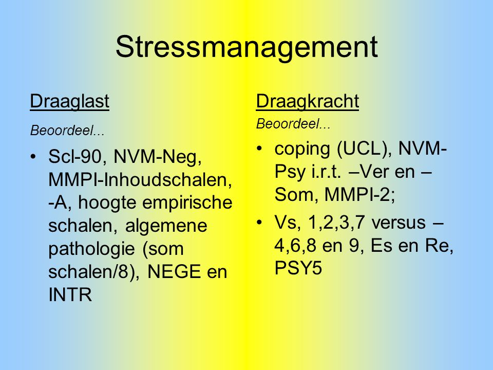 Stressmanagement Draaglast