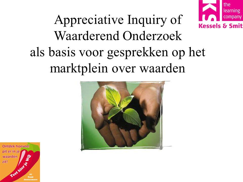 Appreciative Inquiry of Waarderend Onderzoek als basis voor gesprekken op het marktplein over waarden