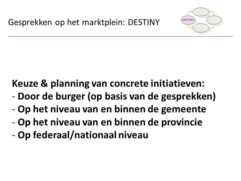 Keuze & planning van concrete initiatieven: