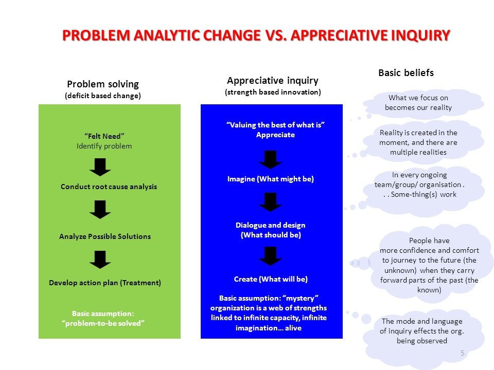 PROBLEM ANALYTIC CHANGE VS. APPRECIATIVE INQUIRY