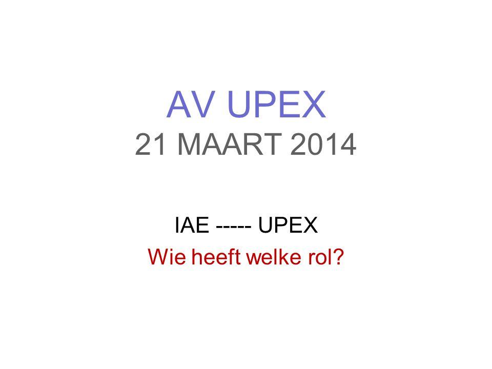 IAE ----- UPEX Wie heeft welke rol