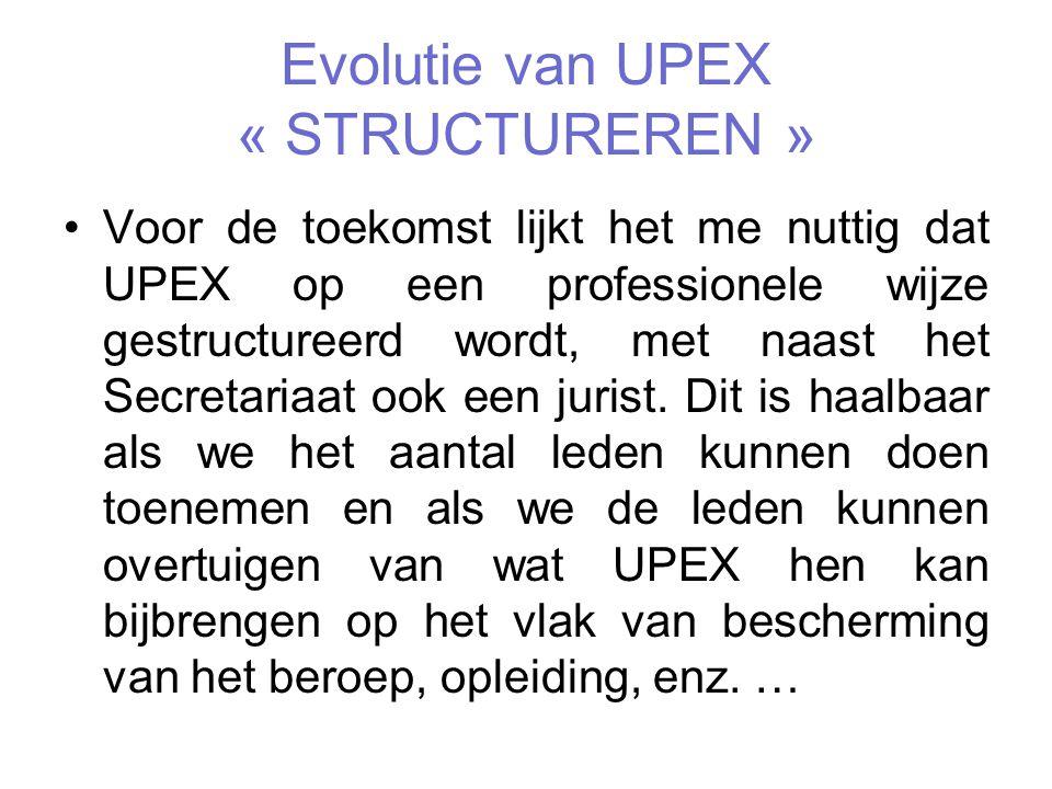 Evolutie van UPEX « STRUCTUREREN »