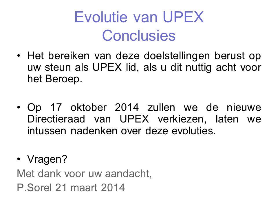 Evolutie van UPEX Conclusies