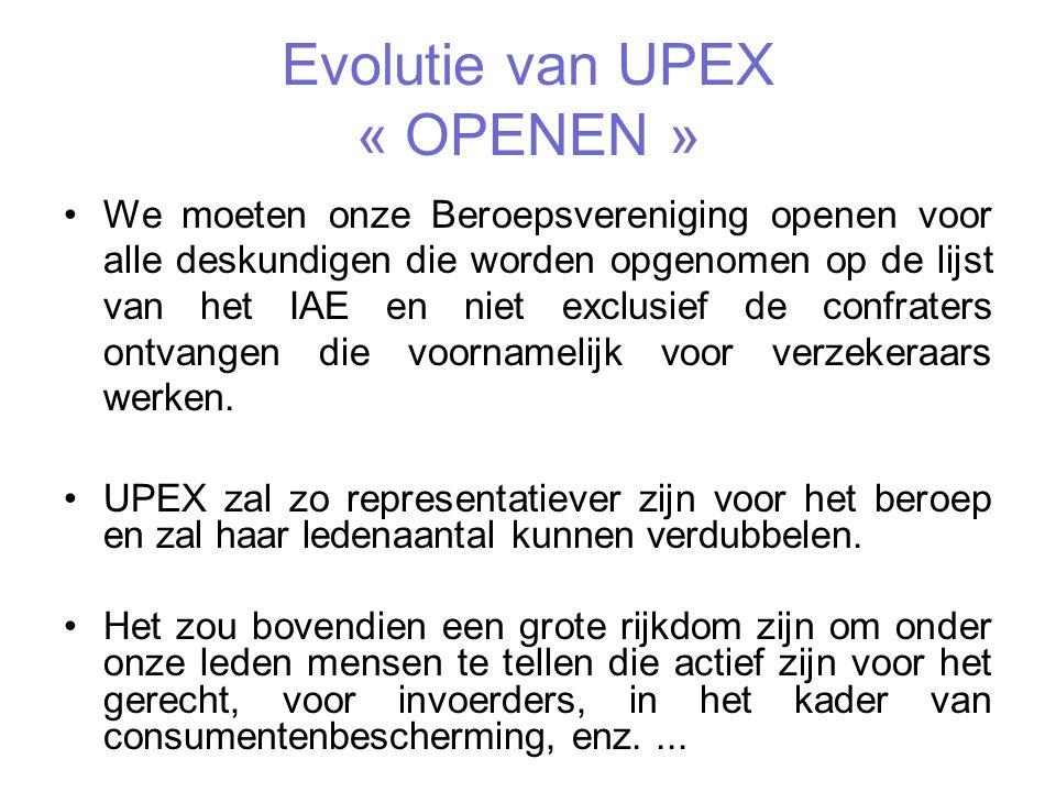 Evolutie van UPEX « OPENEN »
