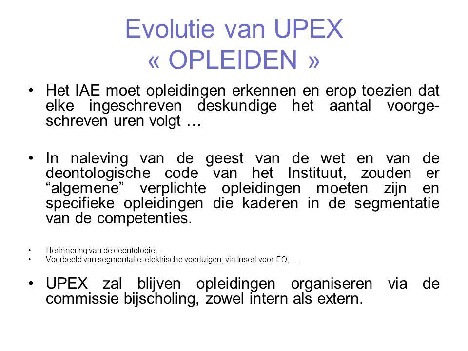 Evolutie van UPEX « OPLEIDEN »