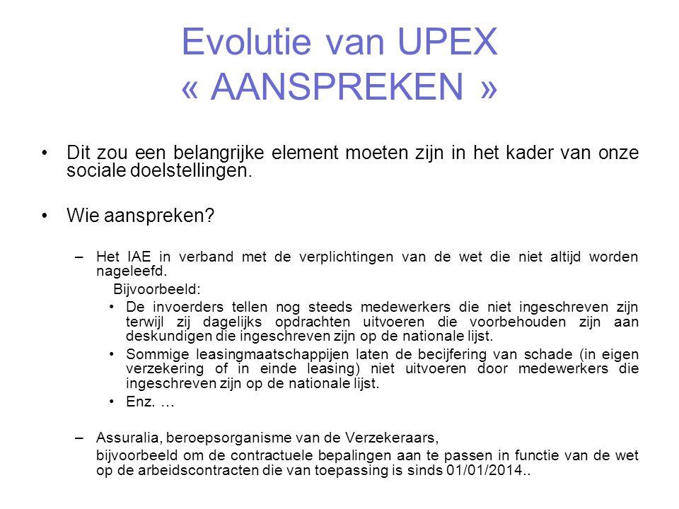Evolutie van UPEX « AANSPREKEN »