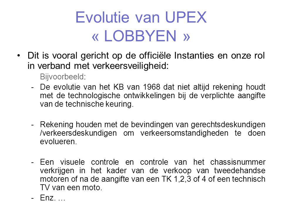 Evolutie van UPEX « LOBBYEN »