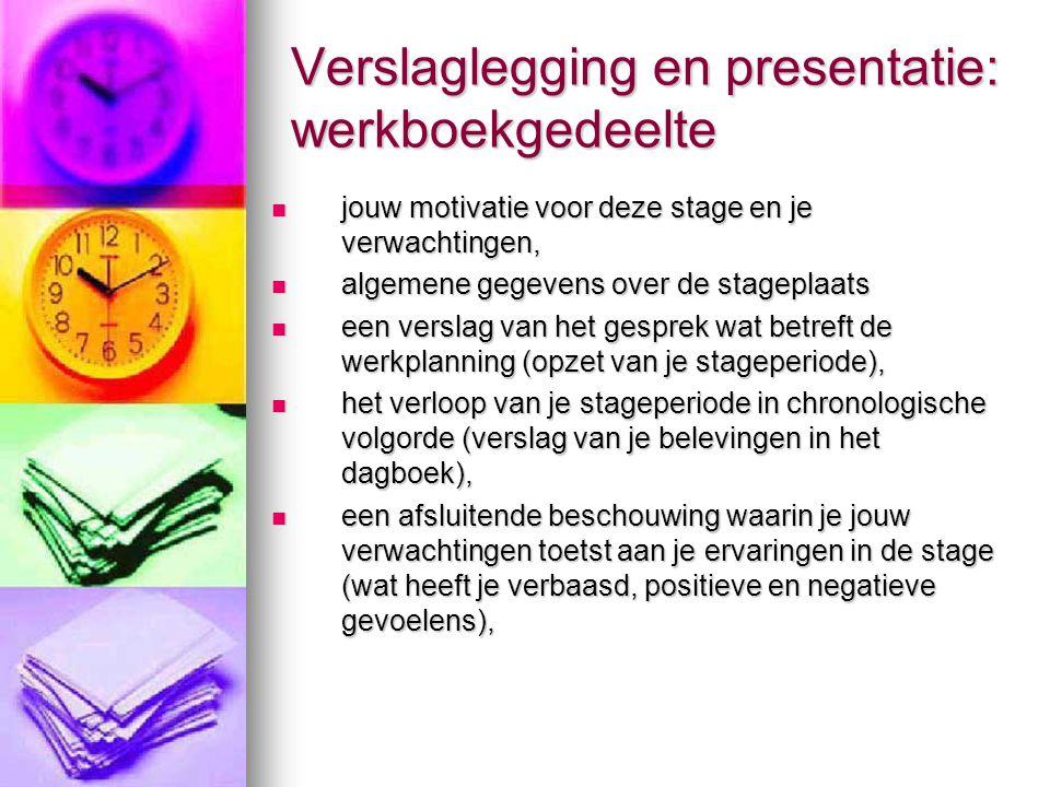 Verslaglegging en presentatie: werkboekgedeelte