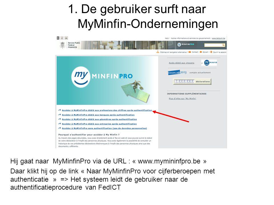 1. De gebruiker surft naar MyMinfin-Ondernemingen