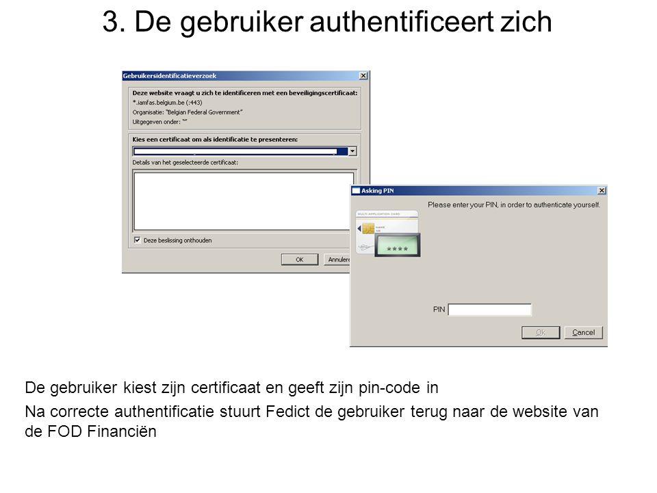 3. De gebruiker authentificeert zich