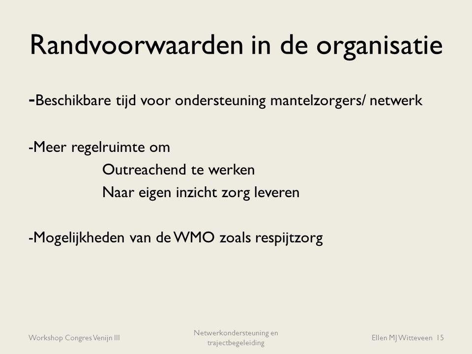 Randvoorwaarden in de organisatie