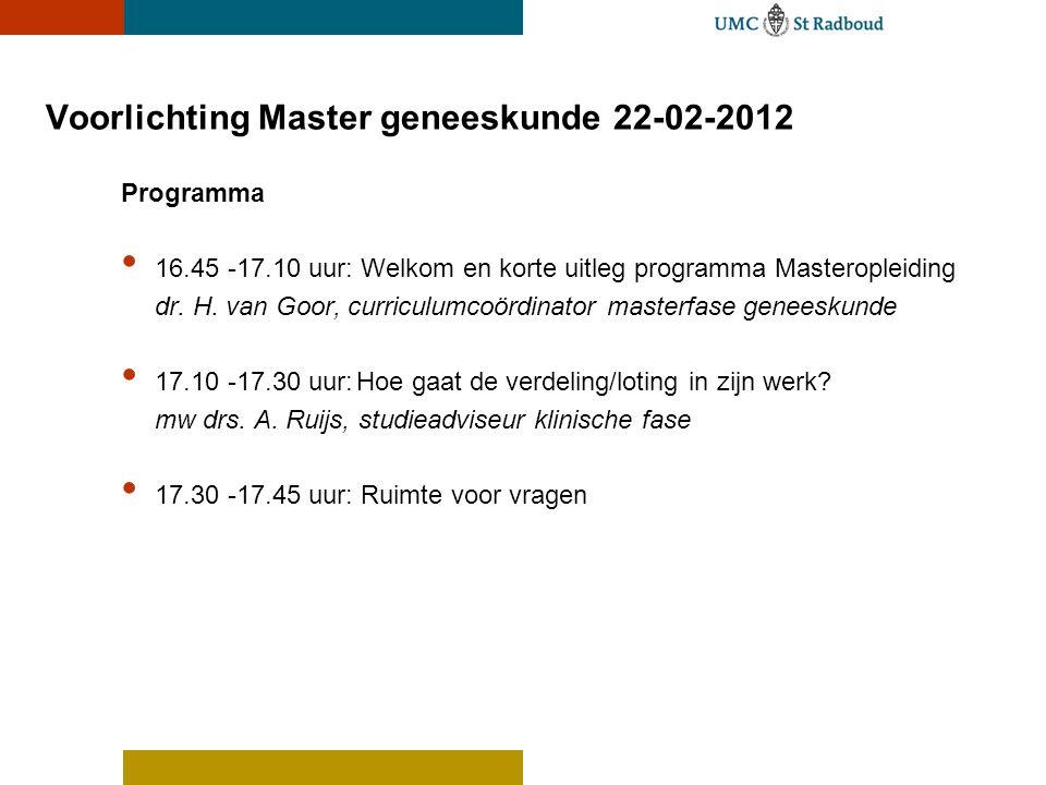 Voorlichting Master geneeskunde 22-02-2012