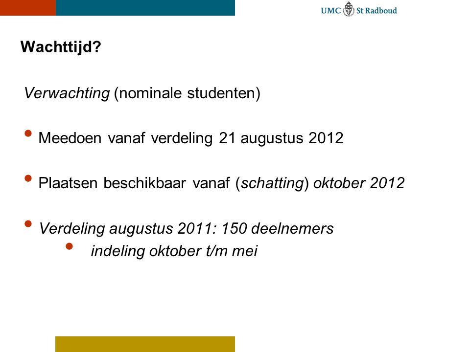 Wachttijd Verwachting (nominale studenten) Meedoen vanaf verdeling 21 augustus 2012. Plaatsen beschikbaar vanaf (schatting) oktober 2012.