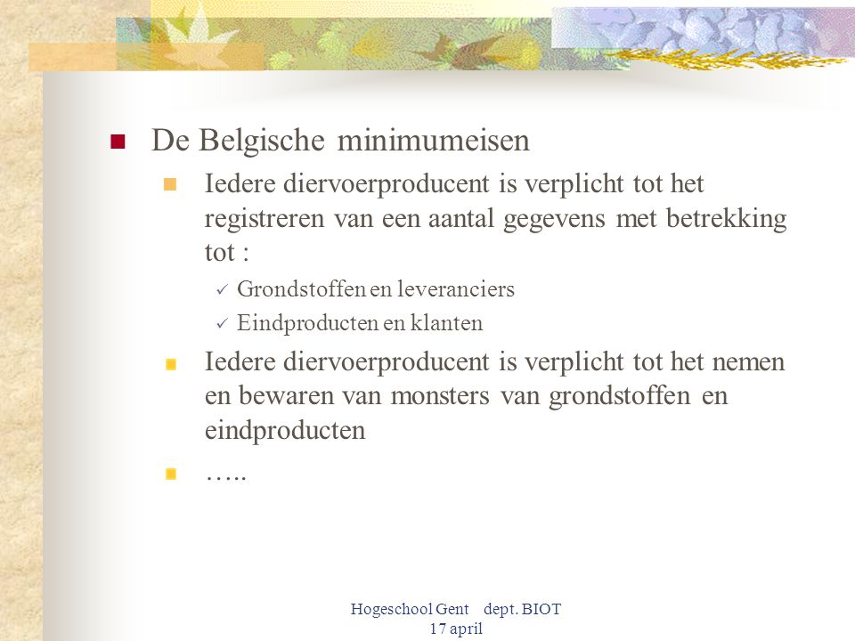 Hogeschool Gent dept. BIOT 17 april