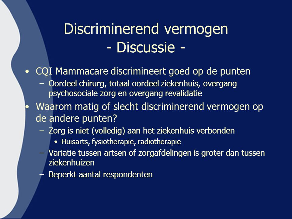 Discriminerend vermogen - Discussie -