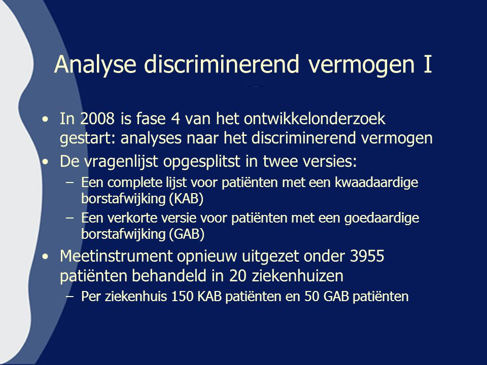 Analyse discriminerend vermogen I