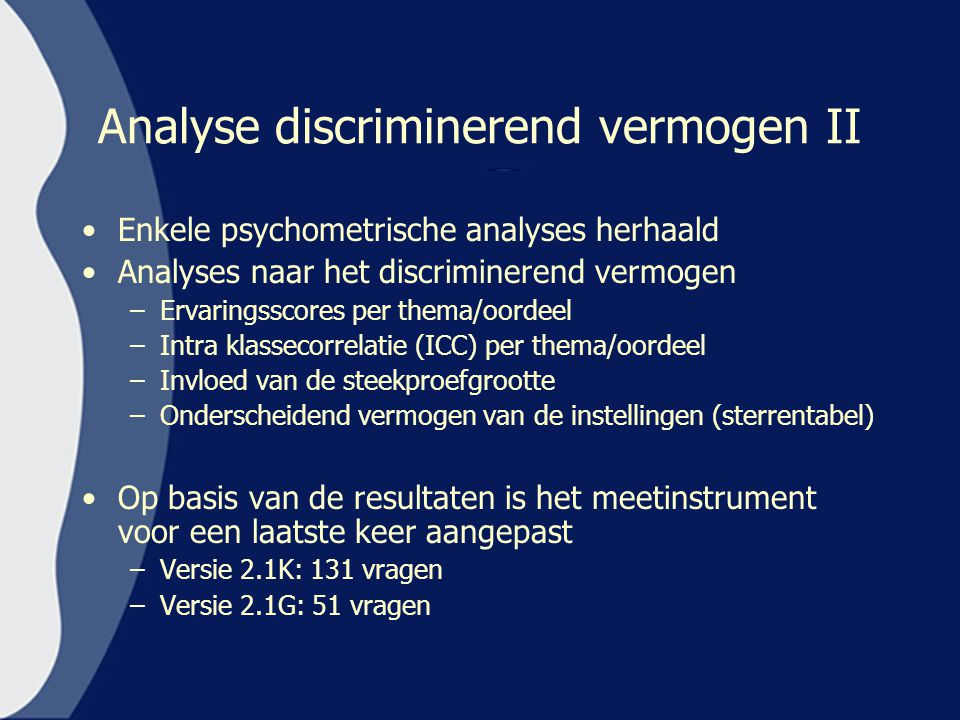 Analyse discriminerend vermogen II