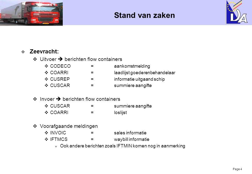 Stand van zaken Zeevracht: Uitvoer  berichten flow containers