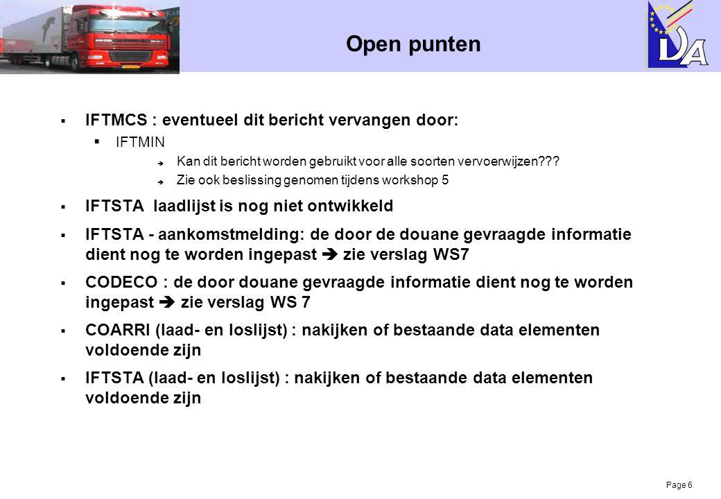 Open punten IFTMCS : eventueel dit bericht vervangen door: