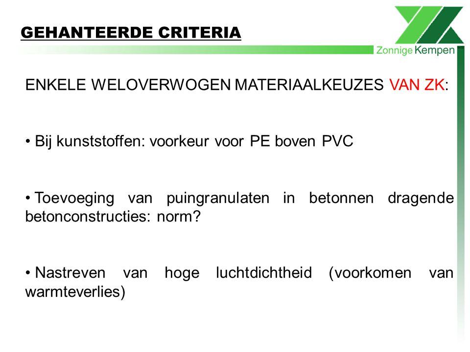 GEHANTEERDE CRITERIA ENKELE WELOVERWOGEN MATERIAALKEUZES VAN ZK: Bij kunststoffen: voorkeur voor PE boven PVC.