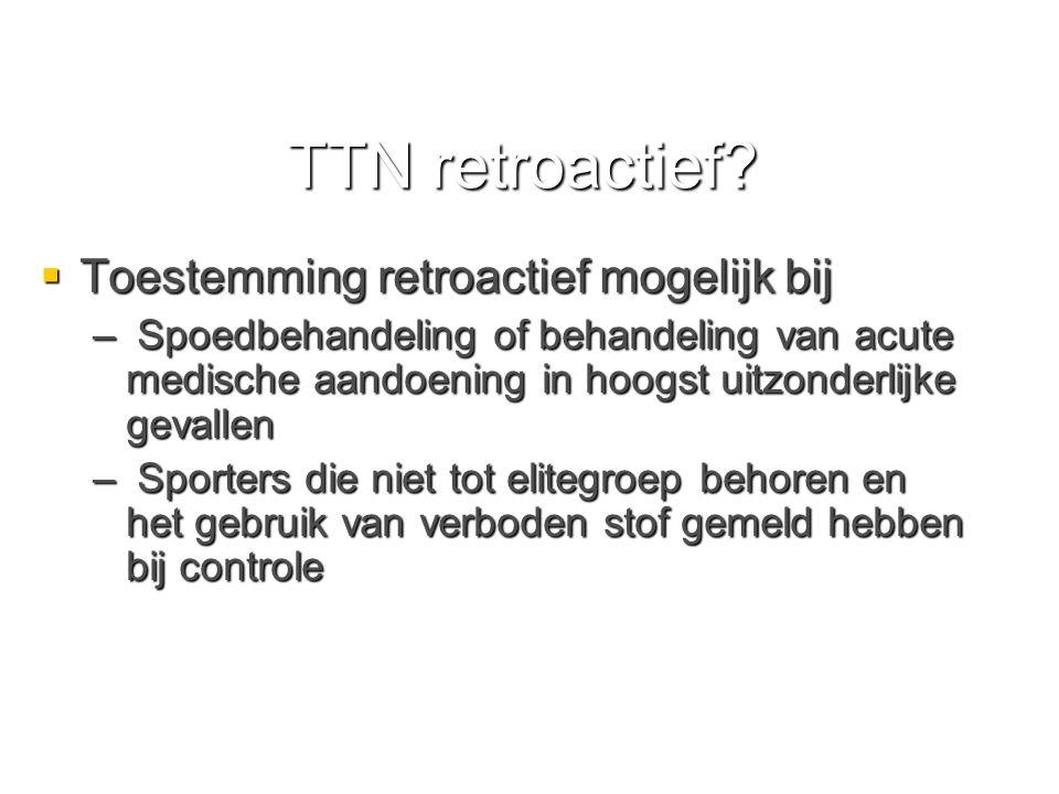 TTN retroactief Toestemming retroactief mogelijk bij