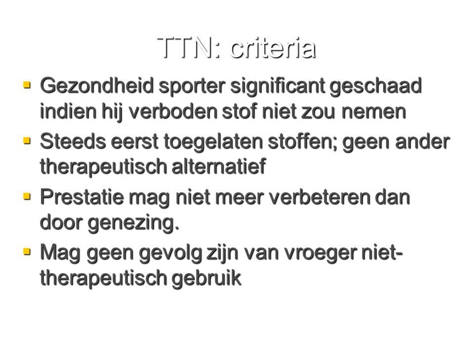 TTN: criteria Gezondheid sporter significant geschaad indien hij verboden stof niet zou nemen.