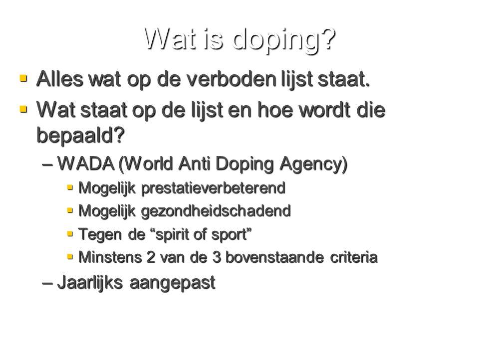Wat is doping Alles wat op de verboden lijst staat.