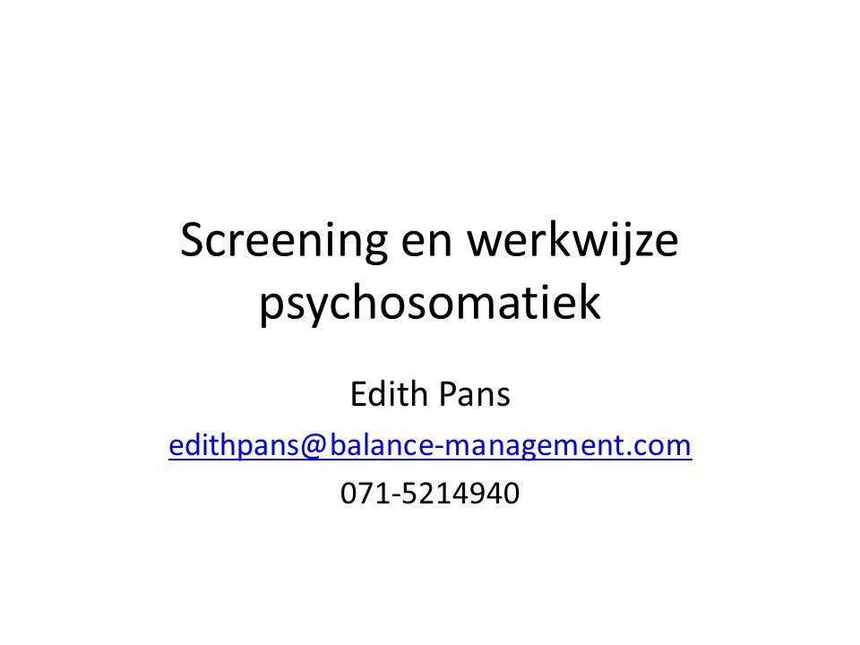 Screening en werkwijze psychosomatiek