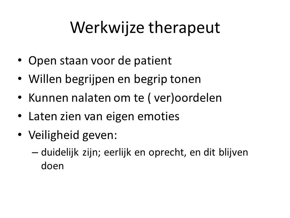 Werkwijze therapeut Open staan voor de patient