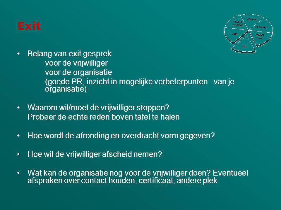 Exit Belang van exit gesprek voor de vrijwilliger voor de organisatie