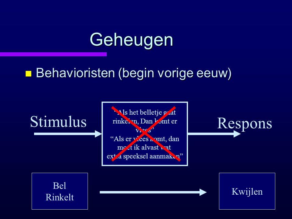 Geheugen Stimulus Respons Behavioristen (begin vorige eeuw) Bel