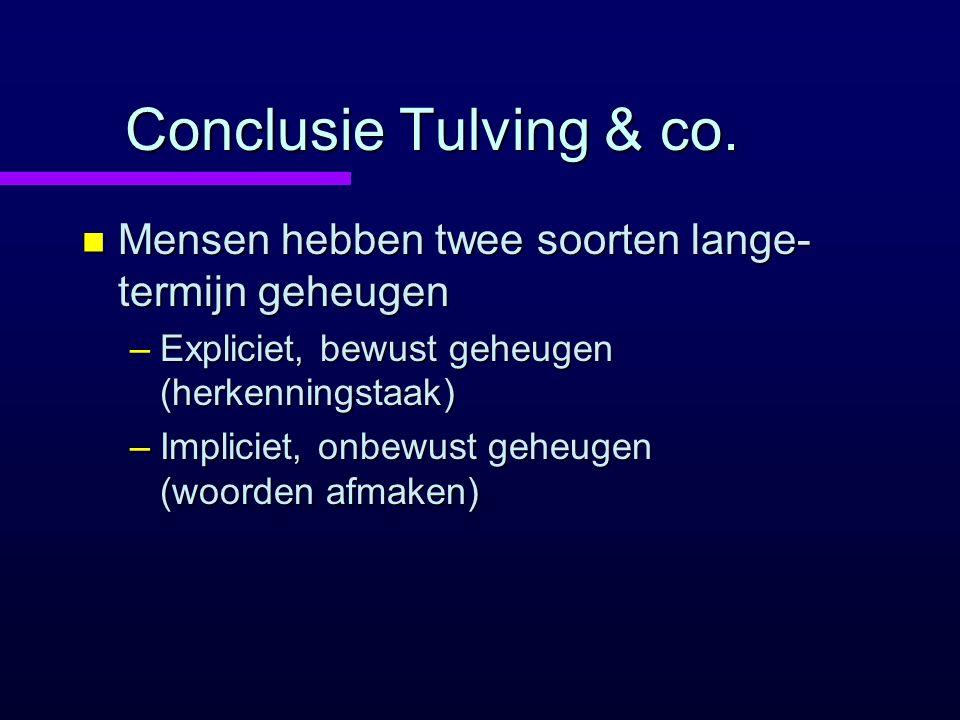 Conclusie Tulving & co. Mensen hebben twee soorten lange-termijn geheugen. Expliciet, bewust geheugen (herkenningstaak)