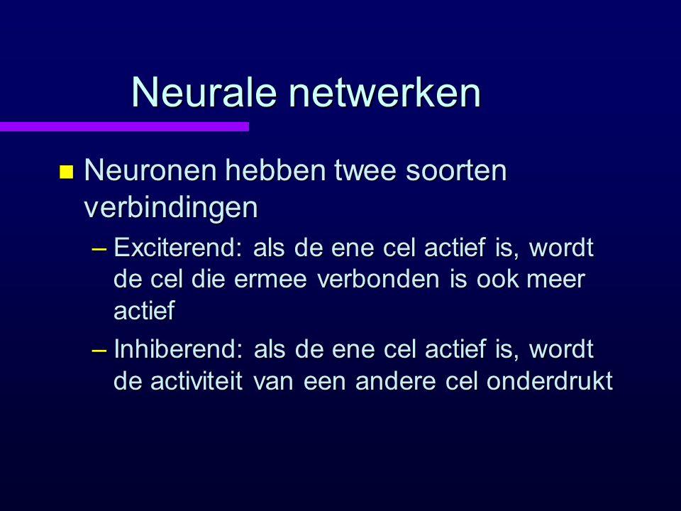 Neurale netwerken Neuronen hebben twee soorten verbindingen