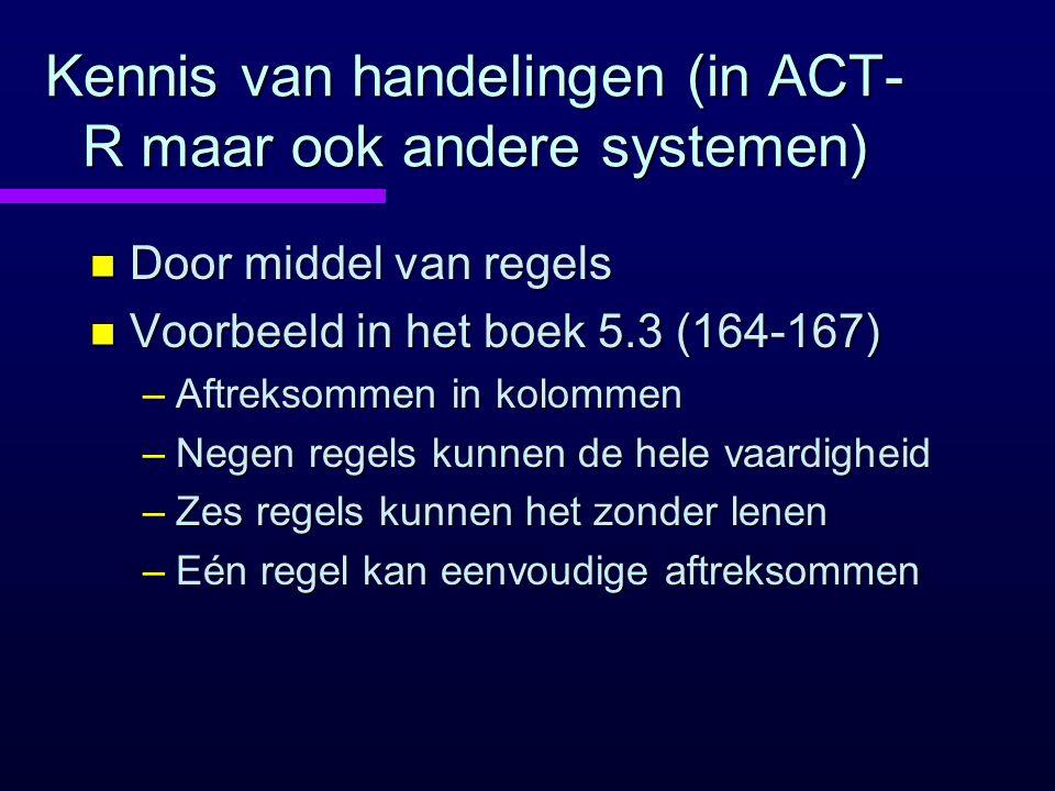 Kennis van handelingen (in ACT-R maar ook andere systemen)
