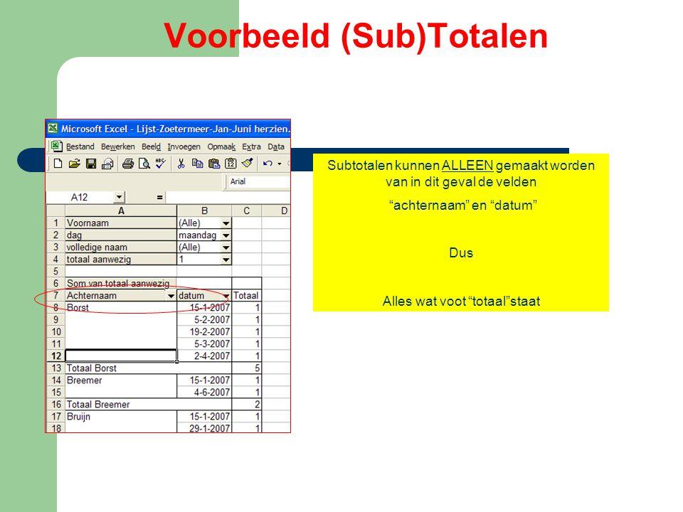 Voorbeeld (Sub)Totalen