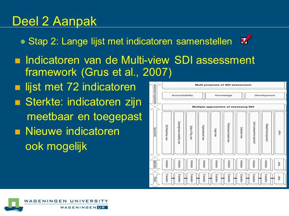 Stap 2: Lange lijst met indicatoren samenstellen