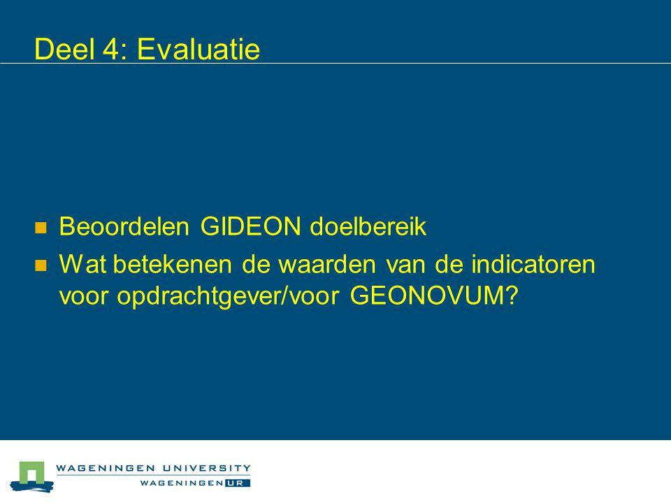 Deel 4: Evaluatie Beoordelen GIDEON doelbereik