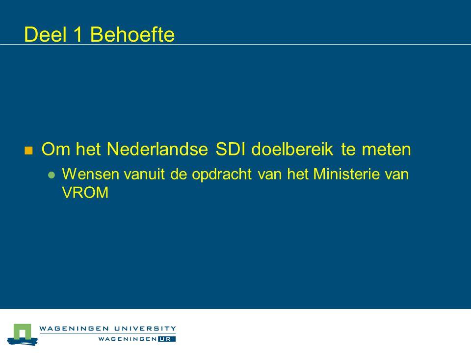 Deel 1 Behoefte Om het Nederlandse SDI doelbereik te meten