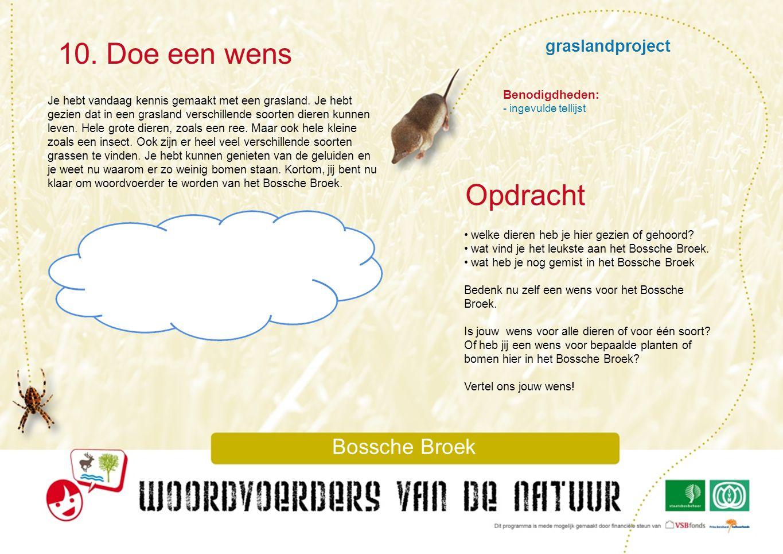 10. Doe een wens Opdracht graslandproject Bossche Broek Benodigdheden: