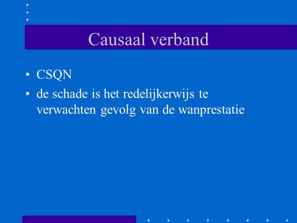 Causaal verband CSQN de schade is het redelijkerwijs te verwachten gevolg van de wanprestatie