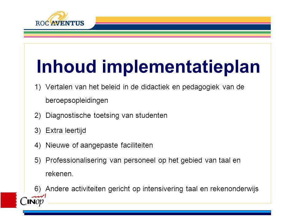 Inhoud implementatieplan