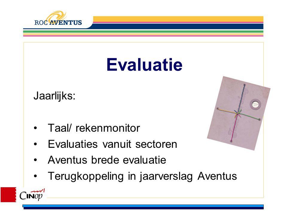 Evaluatie Jaarlijks: Taal/ rekenmonitor Evaluaties vanuit sectoren