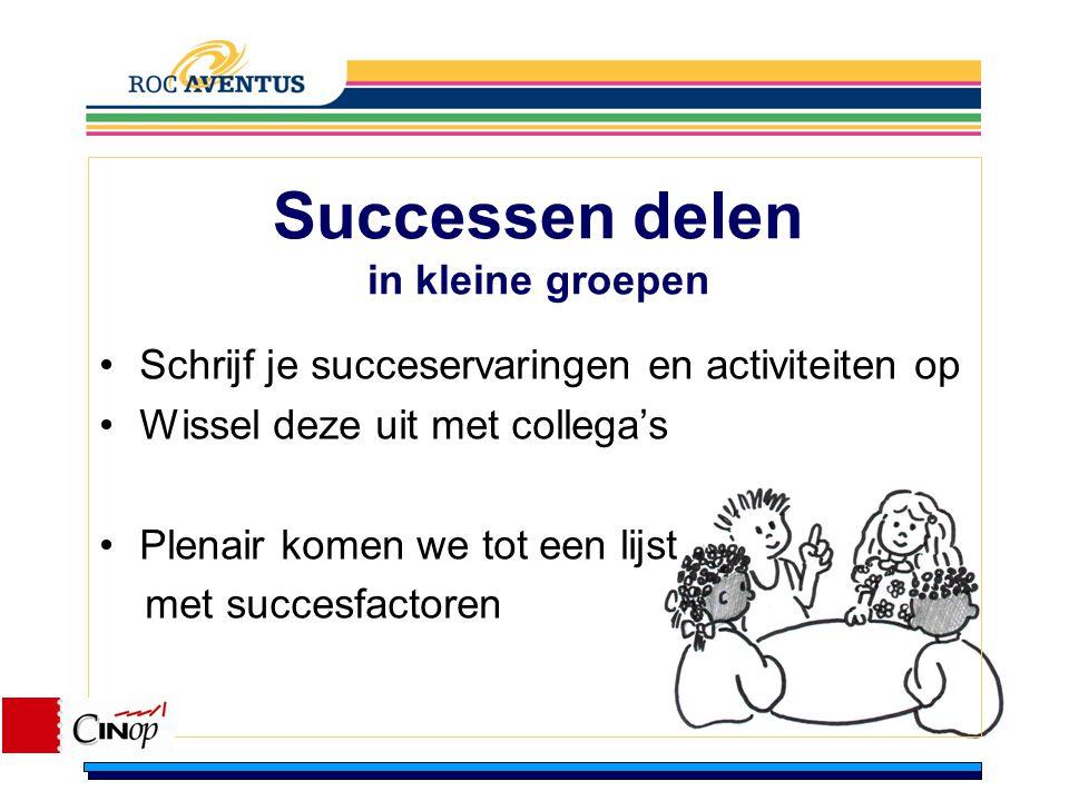 Successen delen in kleine groepen
