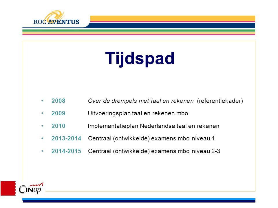 Tijdspad 2008 Over de drempels met taal en rekenen (referentiekader)