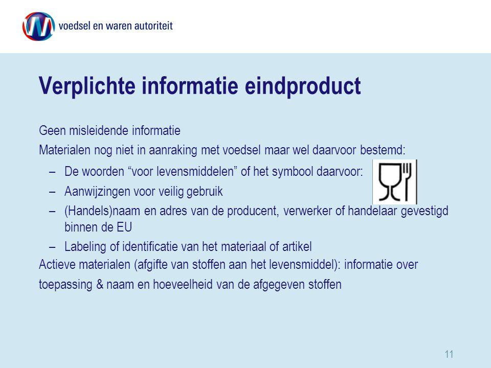 Verplichte informatie eindproduct