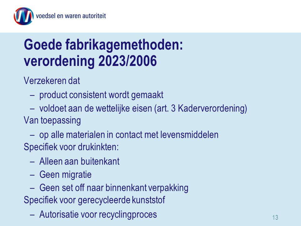 Goede fabrikagemethoden: verordening 2023/2006