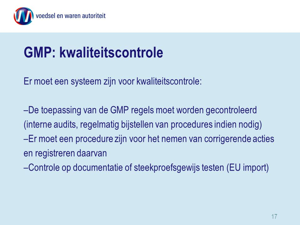 GMP: kwaliteitscontrole