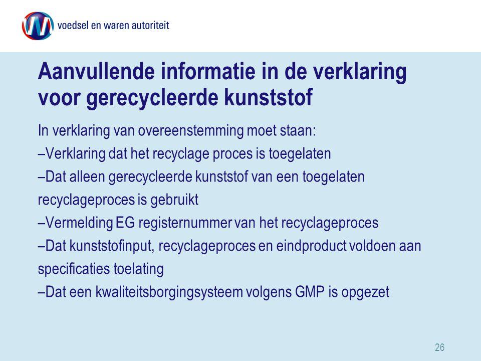 Aanvullende informatie in de verklaring voor gerecycleerde kunststof