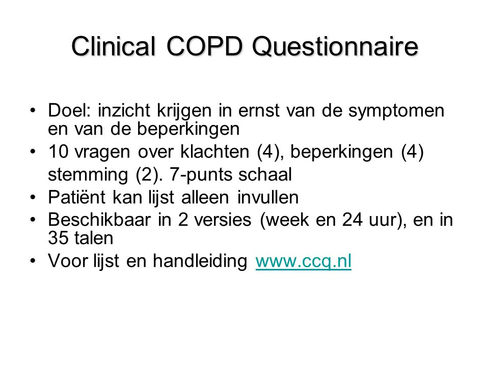 Clinical COPD Questionnaire
